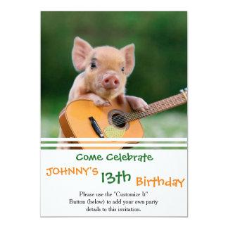 Lustiges niedliches Schwein, das Gitarre spielt 12,7 X 17,8 Cm Einladungskarte