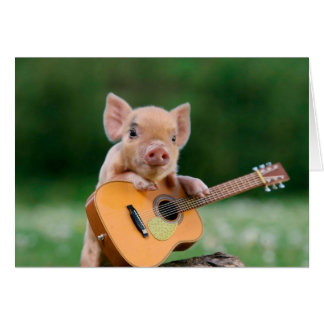 Lustiges niedliches Schwein, das Gitarre spielt Mitteilungskarte
