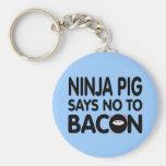 Lustiges Ninja Schwein lehnt Speck ab Schlüsselanhänger