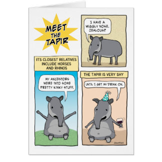 Lustiges Party mögen einen Tapir-Geburtstag Karte