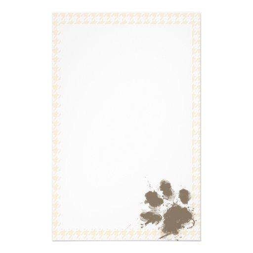 Lustiges Pawprint; Antikes weißes Hahnentrittmuste Bedrucktes Büropapier
