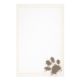 Lustiges Pawprint; Antikes weißes Hahnentrittmuste Büropapiere