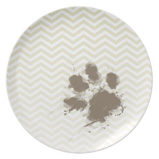 Lustiges Pawprint auf beige Zickzack; Zickzack Teller