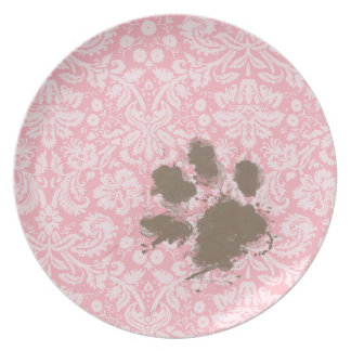 Lustiges Pawprint auf Kaugummi-Rosa-Damast Flacher Teller