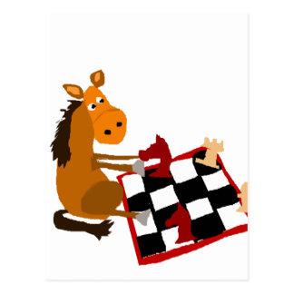 Lustiges Pferd, das Schach-Kunst-Vorlage spielt Postkarte
