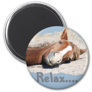 Lustiges Pferd: Entspannen Sie sich Runder Magnet 5,1 Cm