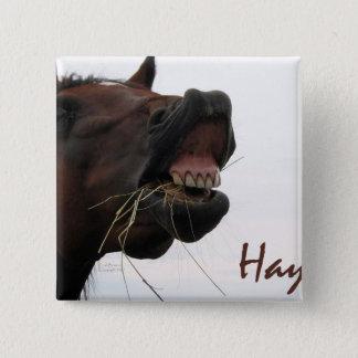 Lustiges Pferd: Heu! Quadratischer Button 5,1 Cm
