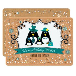 Lustiges Pinguin-Familien-Weihnachtsflache Karte