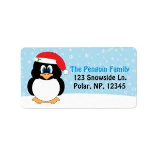 Lustiges Pinguin-Weihnachten Adressaufkleber