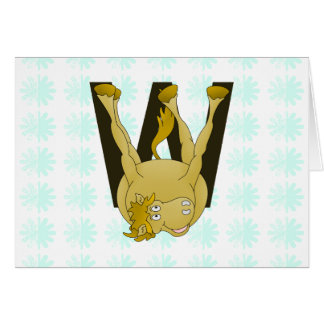 Lustiges Pony des Monogramm-W personalisiert Grußkarte
