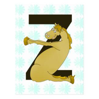 Lustiges Pony des Monogramm-Z besonders Postkarte