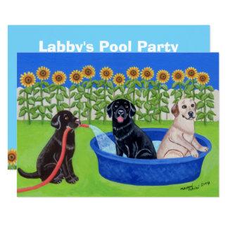 Lustiges Pool-Party Labradors 12,7 X 17,8 Cm Einladungskarte