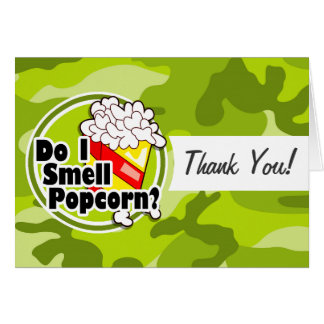 Lustiges Popcorn; hellgrüne Camouflage, Tarnung Grußkarten