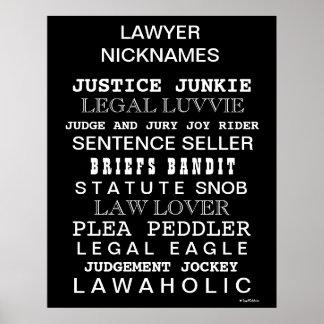 Lustiges Rechtsanwalt-Spitzname-und Synonym-Büro-P Poster