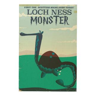 Lustiges Reiseplakat Loch- Nessmonsters Holzdruck