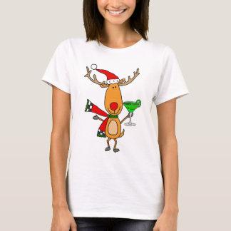 Lustiges Ren, das Margarita-Weihnachtskunst trinkt T-Shirt