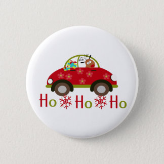 Lustiges Ren in Auto Weihnachten HO HO HO Runder Button 5,1 Cm