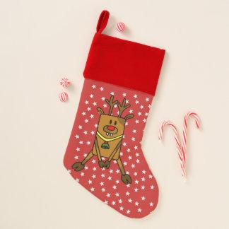 Lustiges Ren mit Stern-Feiertagen Weihnachtsstrumpf