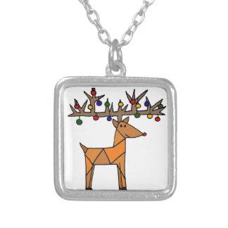 Lustiges Ren-Weihnachten abstrakt Halskette Mit Quadratischem Anhänger