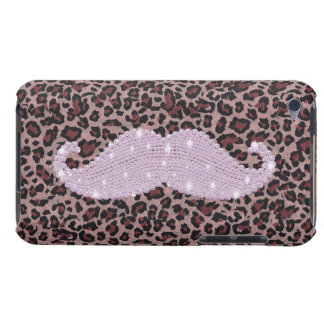 Lustiges rosa Bling Schnurrbart-und Tier-Druck-Mus Barely There iPod Cover