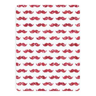 Lustiges rosa Glitter-Schnurrbart-Muster gedruckt 16,5 X 22,2 Cm Einladungskarte