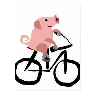 Lustiges rosa Schwein-Reitfahrrad Postkarte