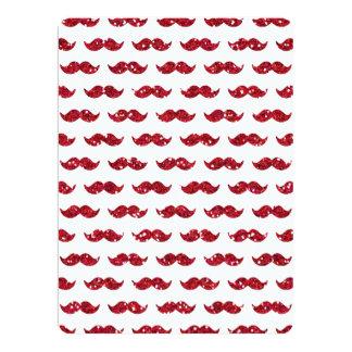 Lustiges rotes Glitter-Schnurrbart-Muster gedruckt 16,5 X 22,2 Cm Einladungskarte