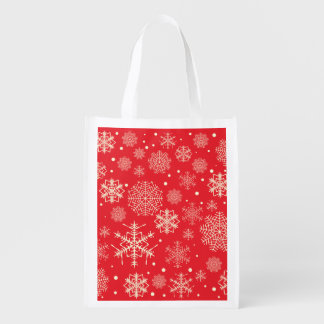 Lustiges rotes Schneeflocke-Muster Wiederverwendbare Einkaufstasche