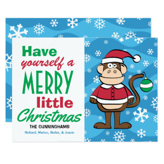Lustiges Sankt-Affe-Weihnachten Karte