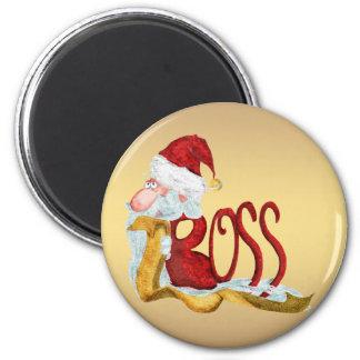 Lustiges Sankt-Chef Weihnachten Runder Magnet 5,7 Cm