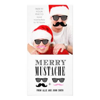 Lustiges Schnurrbart-Sonnenbrille-Weihnachten Photo Karten Vorlage