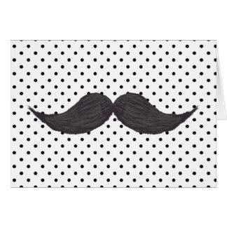 Lustiges Schnurrbart-Zeichnen und schwarze Mitteilungskarte
