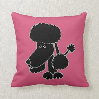 Lustiges schwarzes Pudel-Hündchen Kissen
