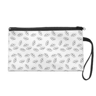 Lustiges Schwarzweiss-Hut-Muster Wristlet Handtasche