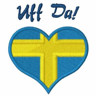 Lustiges Schwede Uff DA mit Herz-Flagge von Bestickte Polos