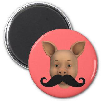 Lustiges Schwein-Gesicht Runder Magnet 5,7 Cm