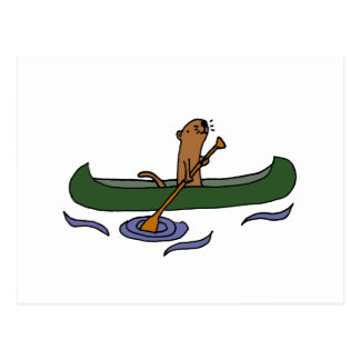 Lustiges Seeotter-Rudersport im Kanu Postkarte