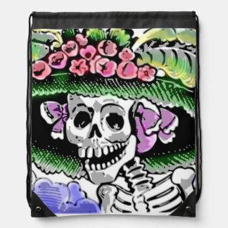 Lustiges Skelett mit Blumenhut mit Blume Turnbeutel