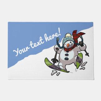 Lustiges Skifahrensnowman-Weihnachten oder Türmatte