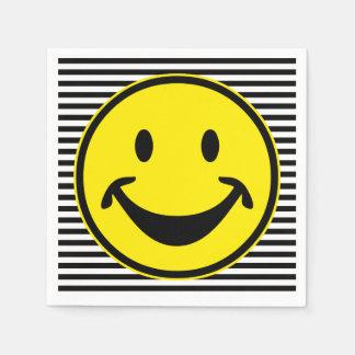 Lustiges smileygelb u. -streifen + Ihr backg. u. Servietten
