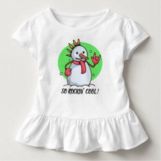 Lustiges so Rockin cooles Rüsche-T-Stück Snowman-  Kleinkind T-shirt