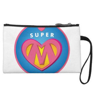 Lustiges Superheldsuperwoman-Mammaemblem Wristlet