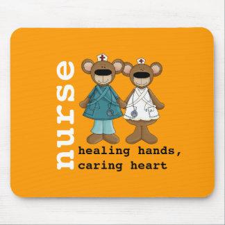 Lustiges Teddybär-Krankenschwester-Geschenk Mauspad