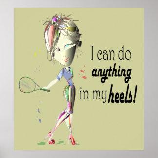 Lustiges Tennis und Stilett beschuhen Superfrau Poster
