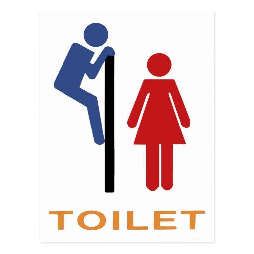 Lustiges Toiletten-Zeichen Postkarte