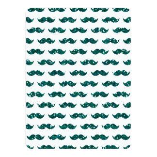 Lustiges Türkis-Glitter-Schnurrbart-Muster 16,5 X 22,2 Cm Einladungskarte