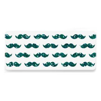 Lustiges Türkis-Glitter-Schnurrbart-Muster Individuelle Ankündigungen