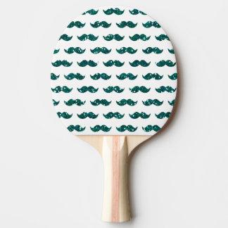 Lustiges Türkis-Glitter-Schnurrbart-Muster Tischtennis Schläger