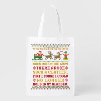 Lustiges Twas die Nacht vor dem Weihnachten Wiederverwendbare Einkaufstasche