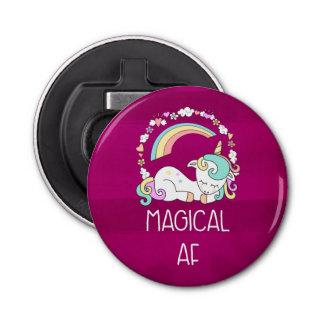 Lustiges Unicorn-Sprichwort magischer AF Flaschenöffner